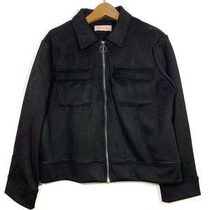 Philosophy Black Suede Front Zip Collared Jacket